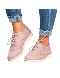 Women's Lace up Oxfords Flats Shoes, Ankle Flat Suede Casual Lace Up Shoes Sport Shoes