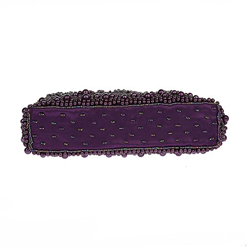 Sequinned Handbag Pearl Beaded Purse Purple Kissing Clutch Patterned Lock Women Heart rEpqrSg