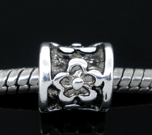 Large Flower Spacer - PEPPERLONELY 20pc Antique Silver Flower Carved Pattern Spacer Beads Tube Large Hole Fits E.