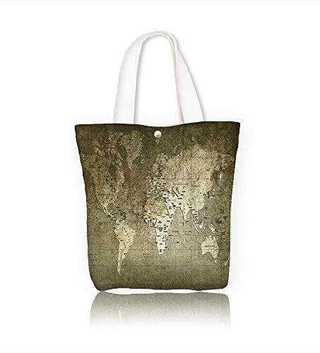 Ladies canvas tote bag old world map with great texture and amazing colors reusable shopping bag zipper handbag Print Design W14xH15.7xD4.7 INCH