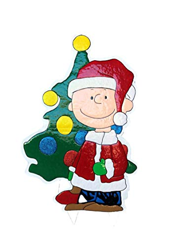 Product Works 42-Inch Peanuts Metal Charlie Brown with Tree Christmas Decoration