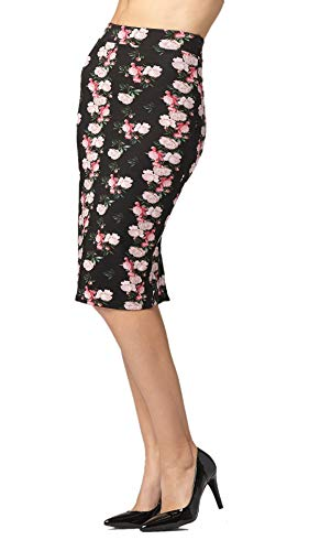 (Premium Stretch Pencil Skirt for Women with Slit - Pull On Elastic Waistband - Bodycon Midi - Floral Eden - X-Large )