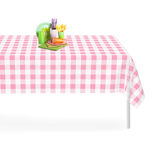 Grandipity Pink Checkered Gingham 6 Pack Premium Disposable Plastic Tablecloth 54 inch. x 108 inch. Rectangle Table Cover by Grandipity
