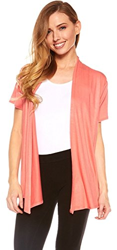 Shorts Black White Coral - Red Hanger Cardigans for Women - Short Sleeve Womens Open Cardigan Sweaters (Coral-XL)
