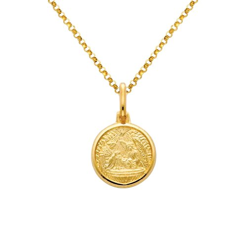 14k Yellow Gold Religious Baptism Medal Pendant with 1.2mm Cable Chain Necklace - -