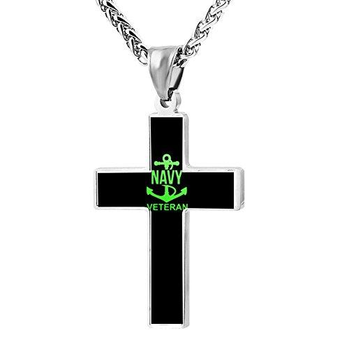 US Navy Veteran Anchor Logo Cross Necklace Pendant Unique Religious Jewelry