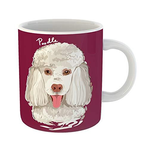 Emvency Funny Coffee Mug Dog of Poodle Painting Animal Breed Canine Cartoon Clipart Drawing Mammal 11 Oz Ceramic Coffee Mug Tea Cup Best Gift Or -