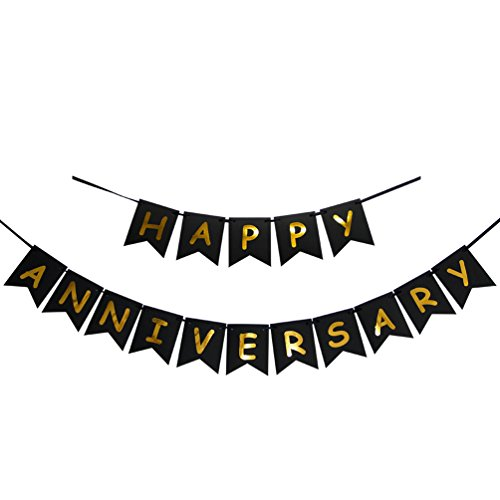 INNORU Happy Anniversary Banner - Gold Foiled Sign - Wedding Anniversary Party Decoration Photo Props