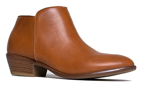 J. Adams Lexy Ankle Boot - Low Stacked Heel Closed Toe Casual Western Bootie Whiskey Pu - Manny-01