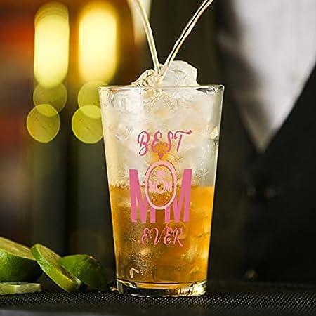 Copa de cristal rosa con cita para agua, zumo, cerveza, licor, whisky en boda, fiesta, día de la madre, día del padre, cumpleaños.