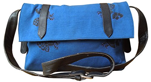 Spice Art, Borsa a tracolla donna blu Blue Block Printed Canvas / Cow Pdm