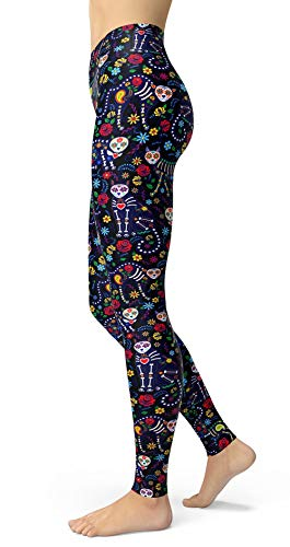 sissycos Women's Candy Skull Printed Leggings Ultra Soft Ankle Length Elastic Tights (Skull Cat Black, Plus Size(L-2XL/Size 12-24)) -