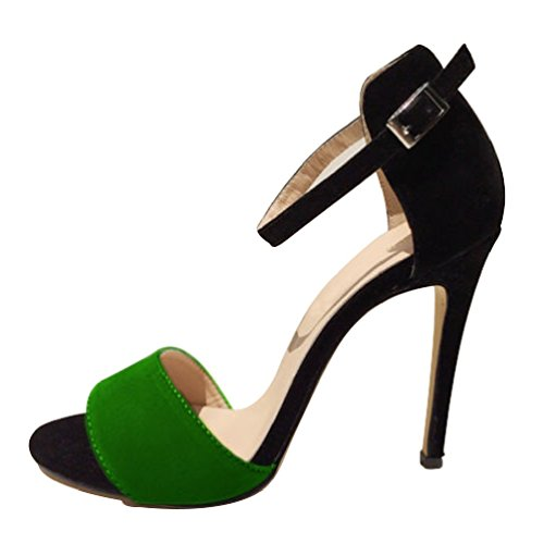 HooH Femmes Contraste Couleur Peep toe Sandales Stiletto Escarpins Vert jn4g7zQvrY