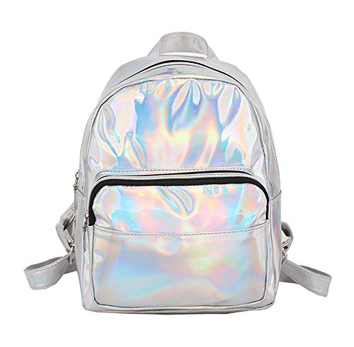 Blansdi Holographic Laser Backpack Purse PU Leather Shoulder Bag School Bookbag Mini Casual Daypack for Teens Girls Women Silver
