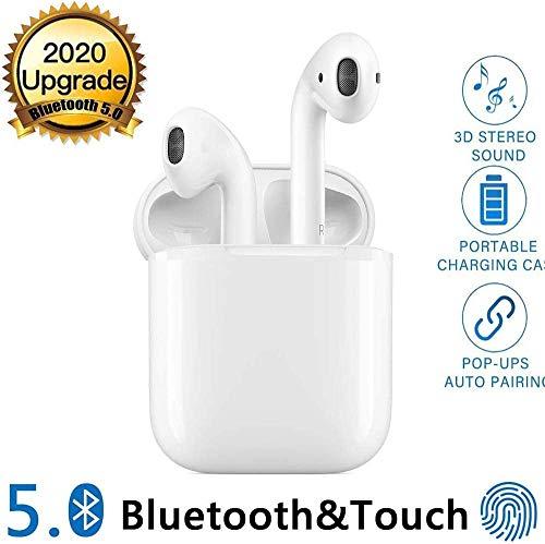 Bluetooth-Kopfhörer,kabellose Touch-Kopfhörer HiFi-Kopfhörer Rauschunterdrückungskopfhörer,Tragbare Sport-Bluetooth-Funkkopfhörer,mit 24H Ladekästchen und Integriertem Mikrofon Auto-Pairing - Weiß