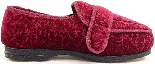 Damenschuhe/Slipper für orthopädische Füße mit extraweitem Klettverschluss Burgund