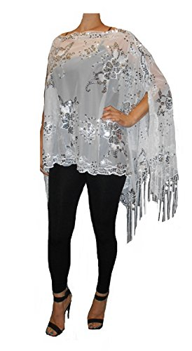 Love My Seamless Mother of The Bride Beaded Fashion Shawl Multi Tunic Poncho Cover up Top (White/Silver)