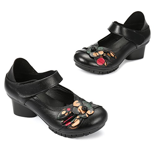 Shoes Mary Mid Pumps for Round Toe Black Loafer Socofy Flower Heel Shoes Sandals Leather Retro Flats Women's Women Jane wWIBY