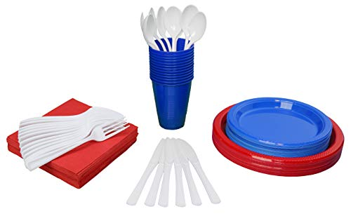 - 350 Piece Combo American Flag Themed Red White and Blue Disposable Party Plastic Plates and Cutlery Set Includes 50 Dinner Plates 50 Dessert Plates 50 Cups 50 Napkins 50 Forks 50 Spoons & 50