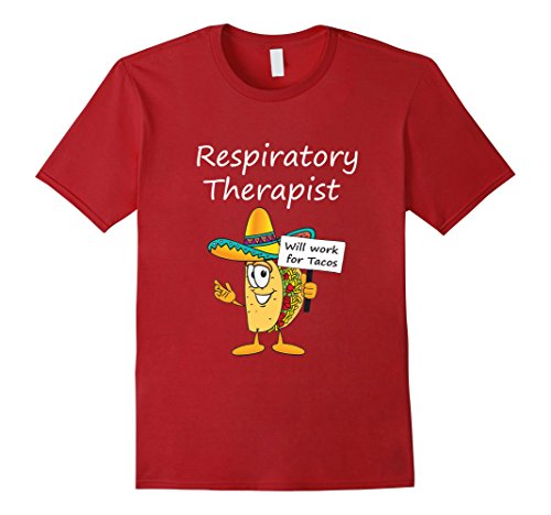 Men's Funny Respiratory Therapist Will Work for Tacos T-shirt 2XL Cranberry