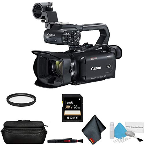 Canon XA15 Compact Full HD Camcorder with SDI, HDMI, and Composite Output Bundle with 128GB Memory Card + More