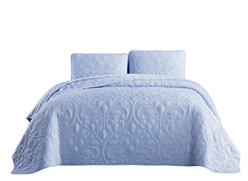 Cozy Beddings Tesla 3pc Coverlet Set, King/Cal-King, Light Blue (Light Blue Bedding Floral)