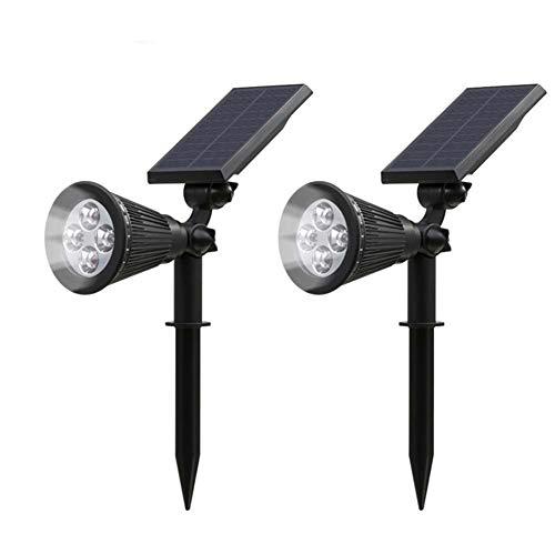 YILUREN 2 Pack Outdoor Solar Lights 2-in-1 Spotlights Powered 4 LED Adjustable Wall Light Yard Pathway Walkway Garden Supplies (White Light)