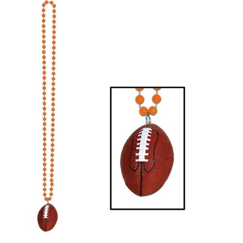 (Beads w/Football Medallion (orange) Party Accessory  (1 count) (1/Card))