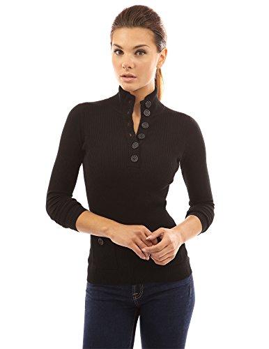 PattyBoutik Mujer v botón del cuello del suéter acanalado negro