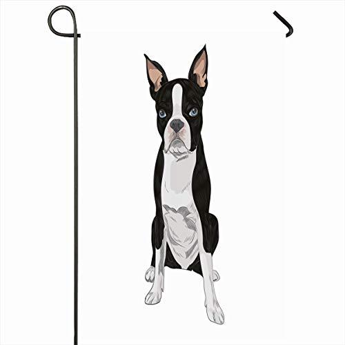 (Ahawoso Outdoor Garden Flag 12x18 Inches Grumpy Doggy Bulldog Boston Terrier Dog Breed Sketch Canine Club Cur Cute Domestic Drawing Design Seasonal Double Sides House Yard Sign)