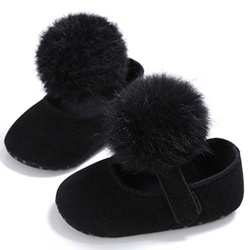 Babyschuhe Longra Kleinkind Baby Mädchen Krippe Schuhe Neugeborenen weiche Sohle Anti-Rutsch Sneakers Stoff Lauflernschuhe Krippeschuhe für Baby (0 ~ 18 Monate) Black