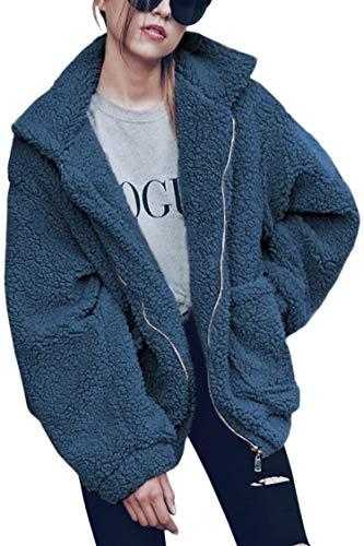 ECOWISH Women's Coat Casual Lapel Fleece Fuzzy Faux Shearling Zipper Warm Winter Oversized Outwear Jackets Blue 2XL