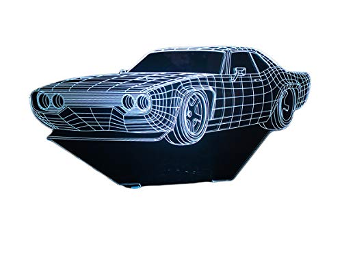 - FIDDY898 3D Glow 7 Colors Illusion LED Night Lights Special Visualization Home Decor, Sensor Touch Lamp-Muscle Car