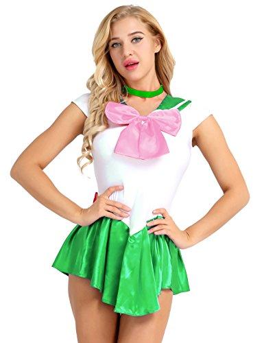 iiniim 2Pcs Women's Sailor Moon Costume Mercury Mars Fancy Dress Halloween Cosplay Outfit Green XL