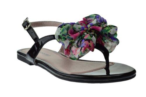 Dromen En Co. Cherry Bloemen Bladerdeeg Platte Sandalen Zwart