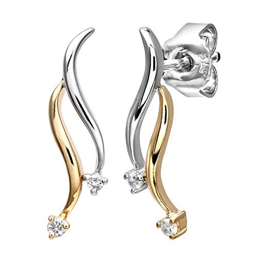 Revoni-Mesdames 9ctyellow or blanc et diamant Boucles d'oreilles Femme
