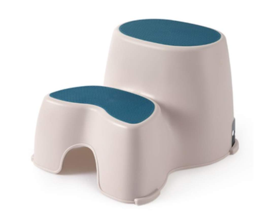 Two-Up Step Squatting Stool, Slip-Resistant Pads Non-slip Bathroom PP Plastic Step Double Footstool,Blue by HB Toilet Stool