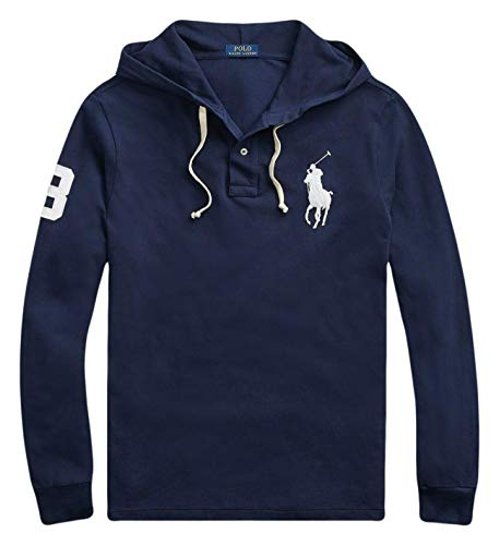 Ralph Lauren Polo Men's Cotton Mesh Big Pony Long Sleeve Hoodie (Newport Navy, Small) (Navy Blue Polo Hoodie)