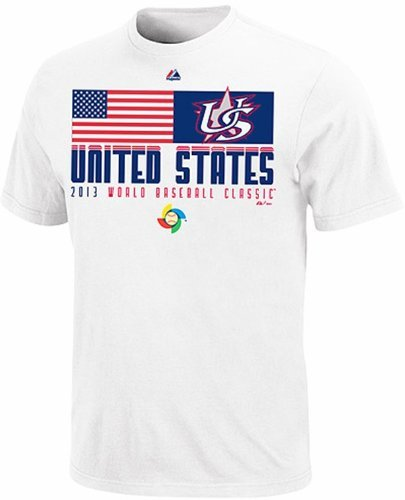 VF Team USA Mens Majestic 2013 World Baseball Classic Flag T Shirt Adult Size XL ()