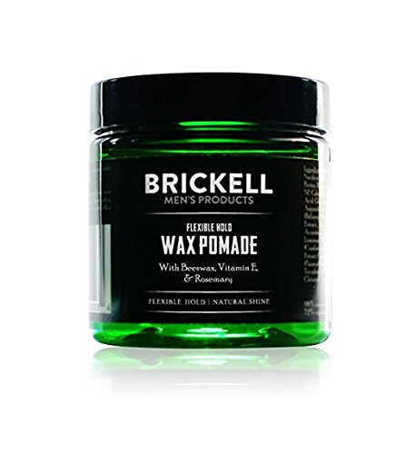 Brickell Men's Flexible Hold Wax Pomade for Men, Natural and Organic Irritation Free Natural Shine, 2 Ounce, Scented