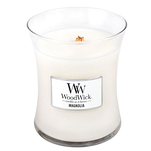 WoodWick Magnolia, Highly Scented Candle, Classic Hourglass Jar, Medium 4-inch, 9.7 oz
