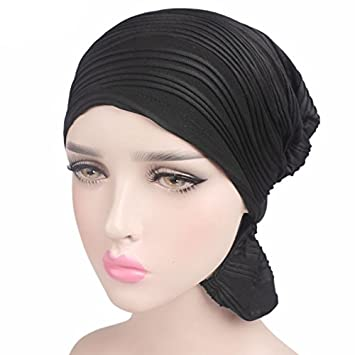 Lamdoo Womens Chemo Cancer Hat Beanie Headscarf Stretch Cap Pleated Muslim Turban Solid 1# Beige