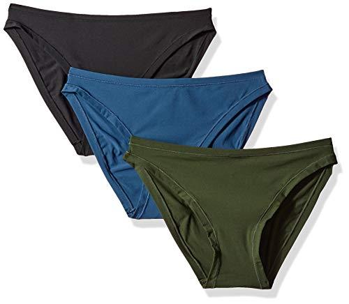 Amazon Brand - Mae Women's Standard 3 Pack Perfect FIT Bikini, fashion/jet black, duffle green, dark denim, - Microfiber Nylon Bikini