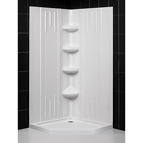40 Inch Neo Angle Shower - DreamLine 40 in. x 40 in. x 75 5/8 in. H Neo-Angle Shower Base and QWALL-2 Acrylic Corner Backwall Kit in White, DL-6042C-01