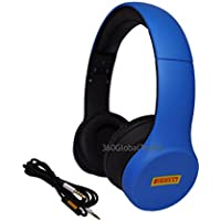 Pirelli Scorpion Over Ear Headphones with Microphone and Volume Control Bass Stereo Adjustable Headsets for iPhone iPad iPod Android Smartphones Laptop Tablets Computer MP3/4 (Blue)