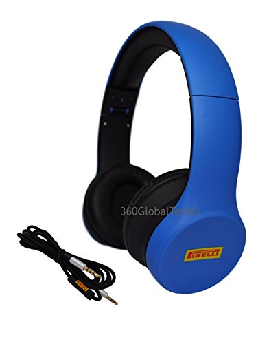 Scorpion Bass (Pirelli Scorpion Over Ear Headphones with Microphone and Volume Control Bass Stereo Adjustable Headsets for iPhone iPad iPod Android Smartphones Laptop Tablets Computer MP3/4 (Blue))