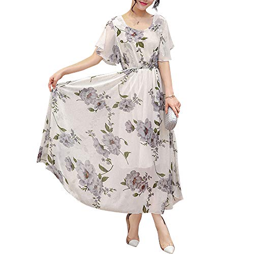 Honwenle Womens Vintage Round Neck Floral Printed Casual Swing Tea Chiffon Maxi Dress Gray