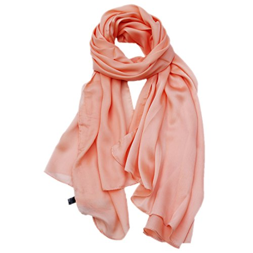 MWHAT Ladies Silky Pure Color Large Blanket Shawls Summer Satin Chiffon Scarves Beach Towl Sunscreen Fringe Wrap Orange