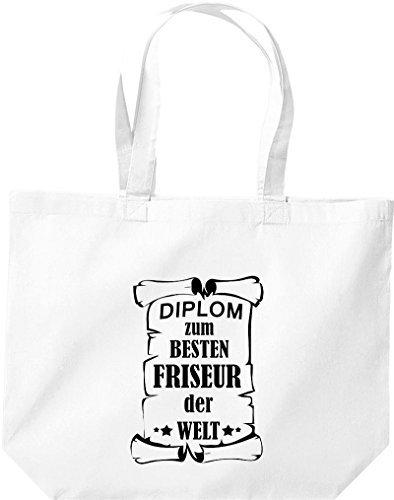 Shirtstown große Bolsa de compra, Diploma a la besten Peluquería der Welt Blanco