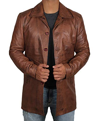 Blingsoul Distress Brown Mens Leather Coat | [1500025] Super Tan Jacket, XL